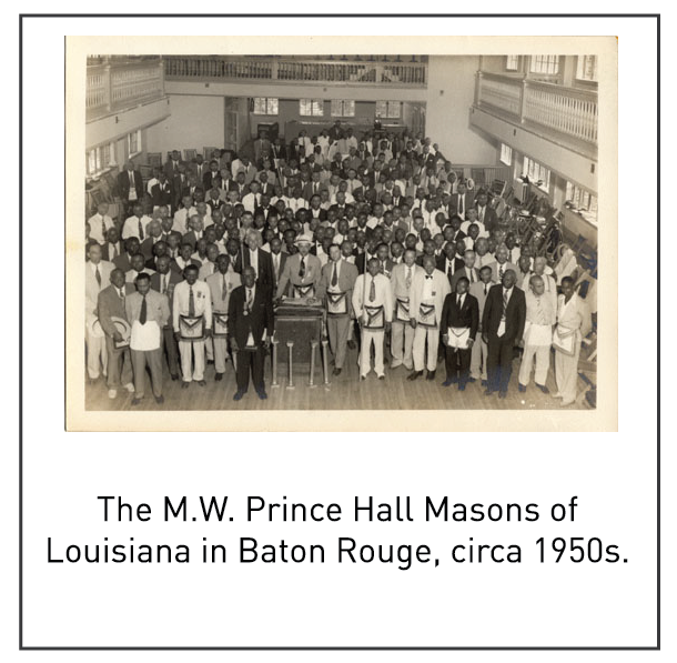 The M.W. Prince Hall Masons of Louisiana in Baton Rouge, circa 1950s.