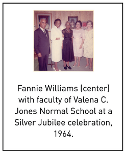 Fannie Williams (center) with faculty of Valena C. Jones Normal School at a Silver Jubilee celebration, 1964.