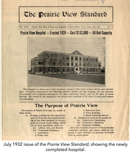 July 1932 issue of the Prairie View Standard, showing the newly completed hospital.