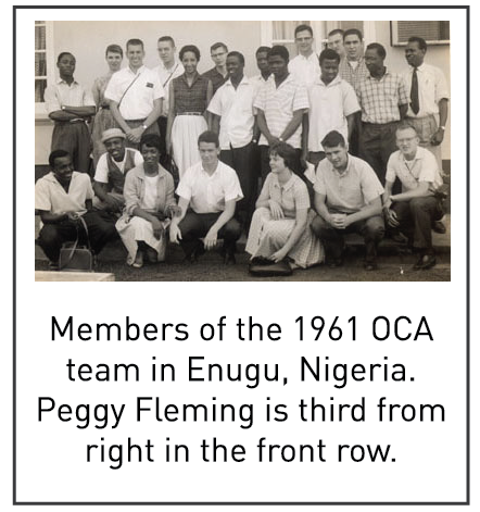 Members of the 1961 OCA team in Enugu, Nigeria. Peggy Fleming is third from right in the front row.