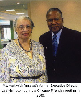 Ms. Hart with Amistad's former Executive Director Lee Hampton during a Chicago Friends meeting in 2010.