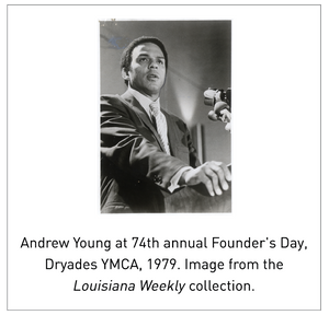 Andrew Young at 74th annual Founder's Day, Dryades YMCA, 1979. Image from the Louisiana Weekly collection.