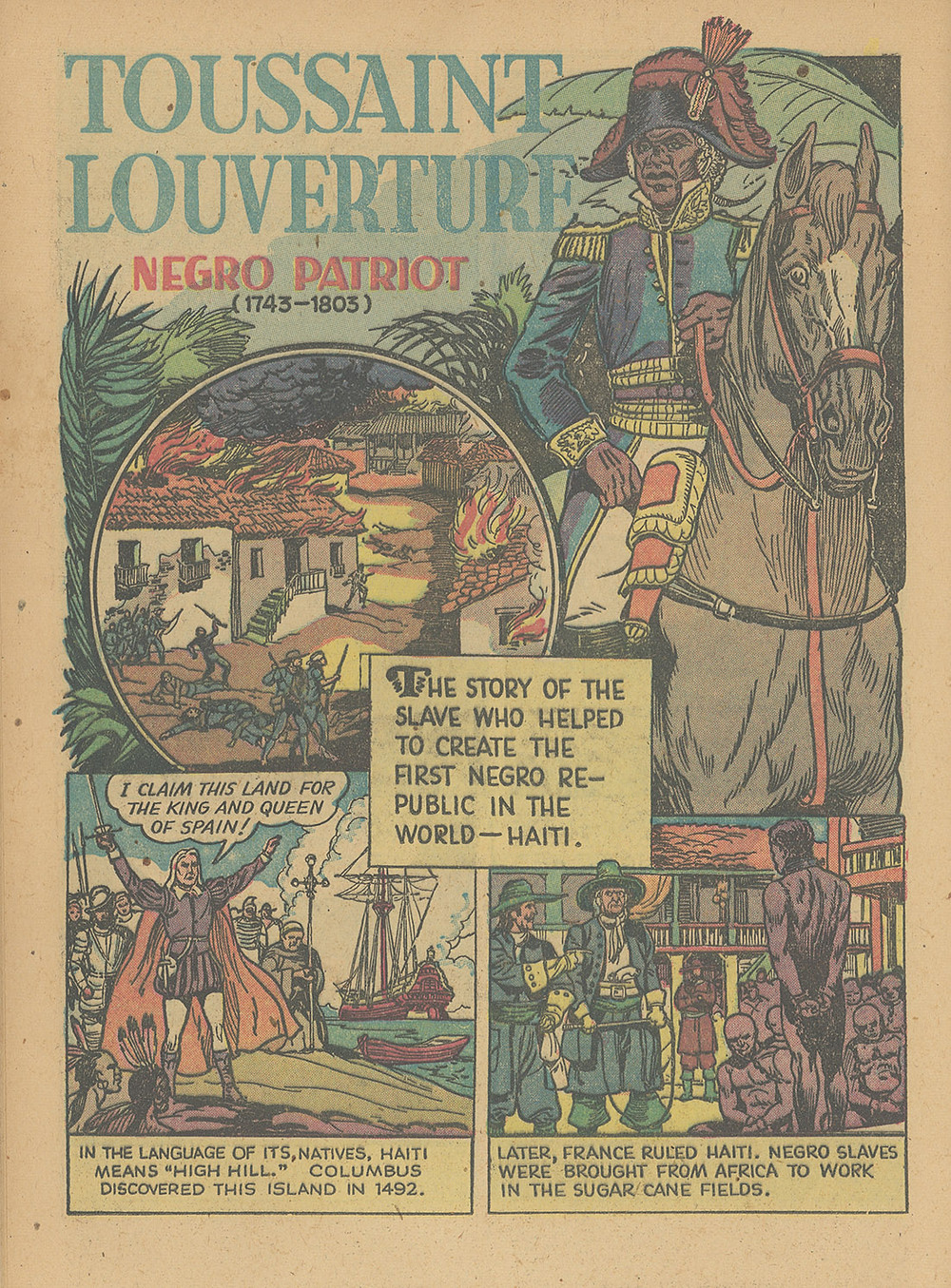 Toussaint L'Ouverture from the comic book 'Negro Heroes'
