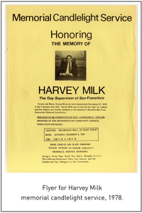 Flyer for Harvey Milk memorial candlelight service, 1978.