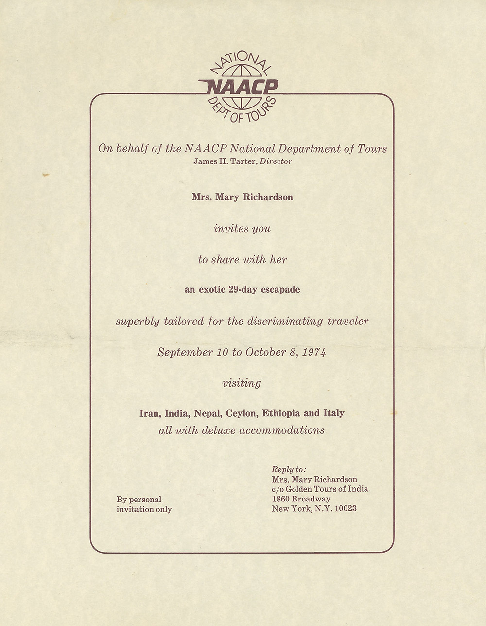 Official invitation for the NAACP National Department of Tours, organized by Mary Richardson, courtesy of Golden Tours of India 1974