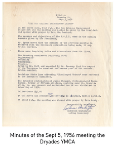 Minutes of the Sept 5, 1956 meeting the Dryades YMCA