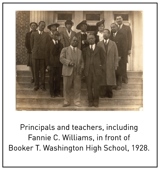 Principals and teachers, including Fannie C. Williams, in front of Booker T. Washington High School, 1928.