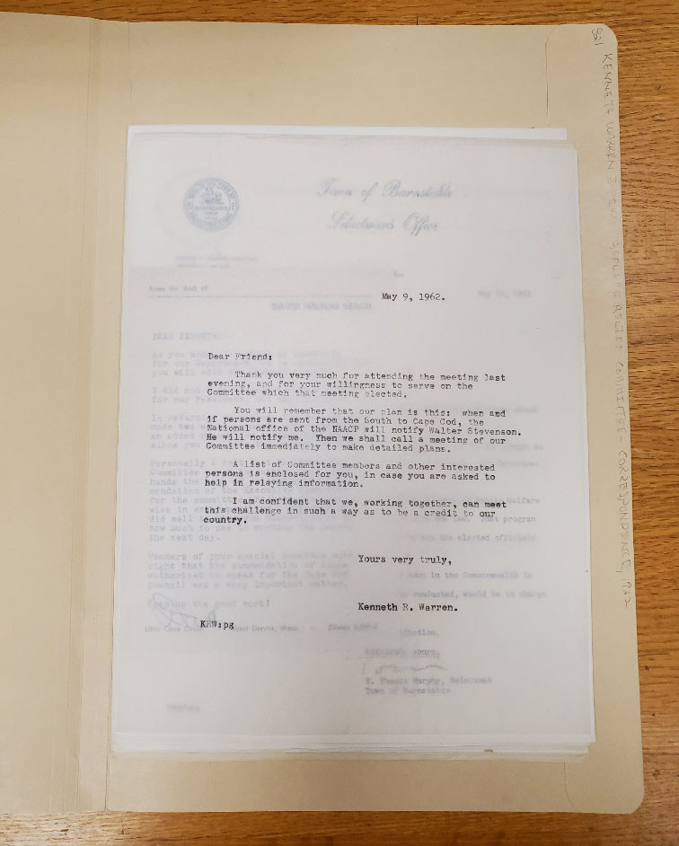 Early correspondence of the Cape Code Refugee Relief Committee.