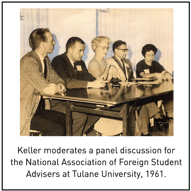 Keller moderates a panel discussion for the National Association of Foreign Student Advisers at Tulane University, 1961.