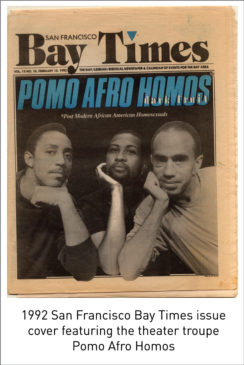 1992 San Francisco Bay Times issue cover featuring the theater troupe Pomo Afro Homos