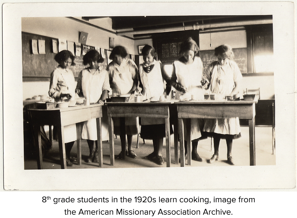 8th grade students in the 1920s learn cooking, image from the American Missionary Association Archive.