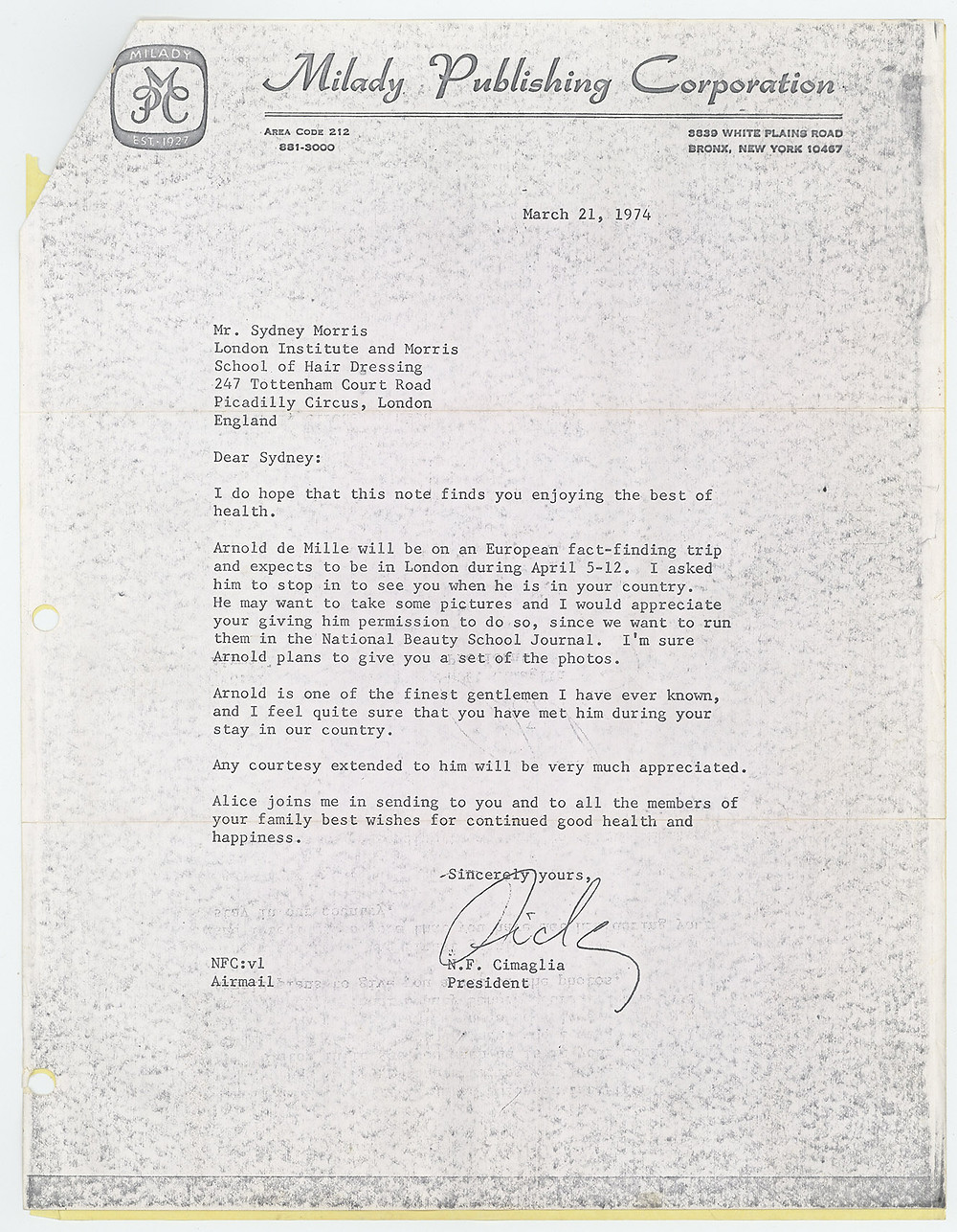 Letter from N.F. Cimaglia to Sydney Morris about Arnold de Mille's visit, 1974.