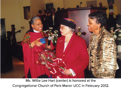 Ms. Willie Lee Hart (center) is honored at the Congregational Church of Park Manor UCC in February 2012.