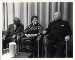 Left to right: Jacob Lawrence, Elizabeth Catlett, and Romare Bearden