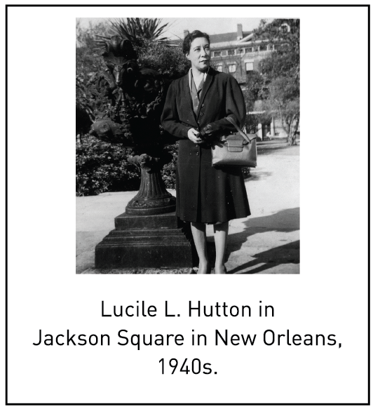 Lucile L. Hutton in Jackson Square in New Orleans, 1940s.