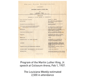 Program of the Martin Luther King, Jr. speech at Coliseum Arena, Feb 1, 1957. The Louisiana Weekly estimated 2,500 in attendance