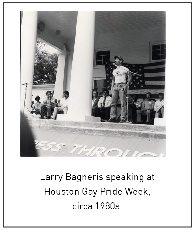Larry Bagneris speaking at Houston Gay Pride Week, circa 1980s.