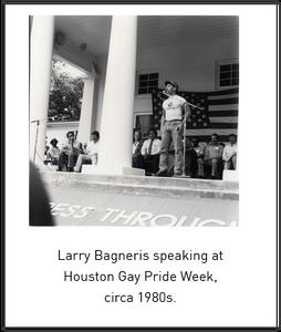 Larry Bagneris speaking at Houston Gay Pride Week, circa 1980s.