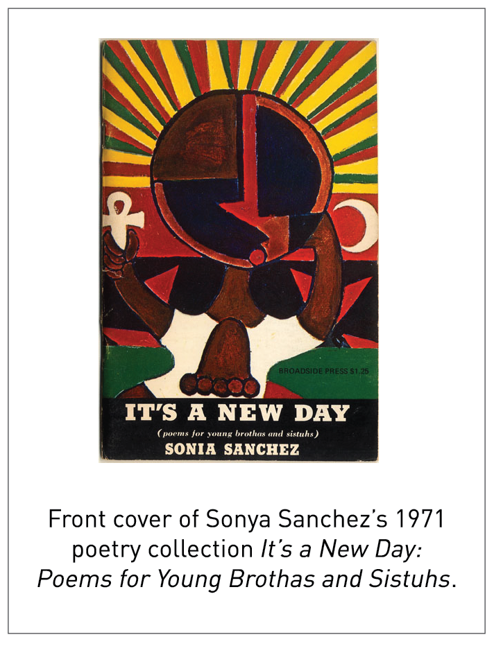Front cover of Sonya Sanchez's 1971 poetry collection It's a New Day: Poems for Young Brothas and Sistuhs.