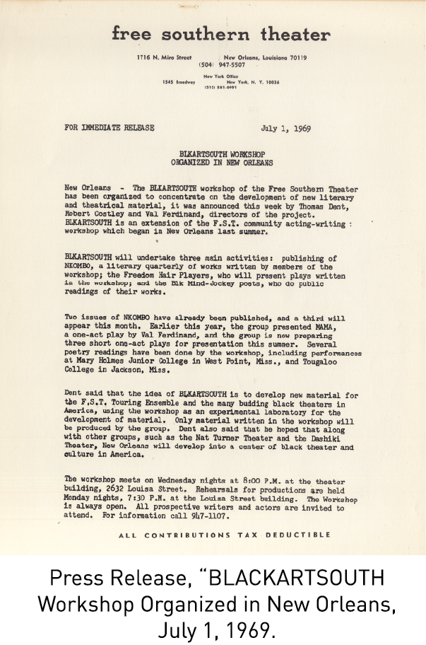 "Press Release, ""BLACKARTSOUTH Workshop Organized in New Orleans, July 1, 1969."