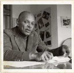 Chester Himes in his writing studio, undated.