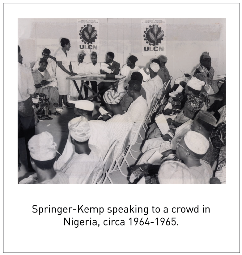 Springer-Kemp speaking to a crowd in Nigeria, circa 1964-1965.