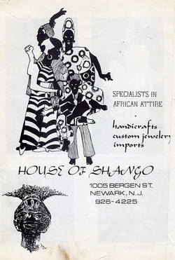 Advertisement for House of Shango in Newark, New Jersey