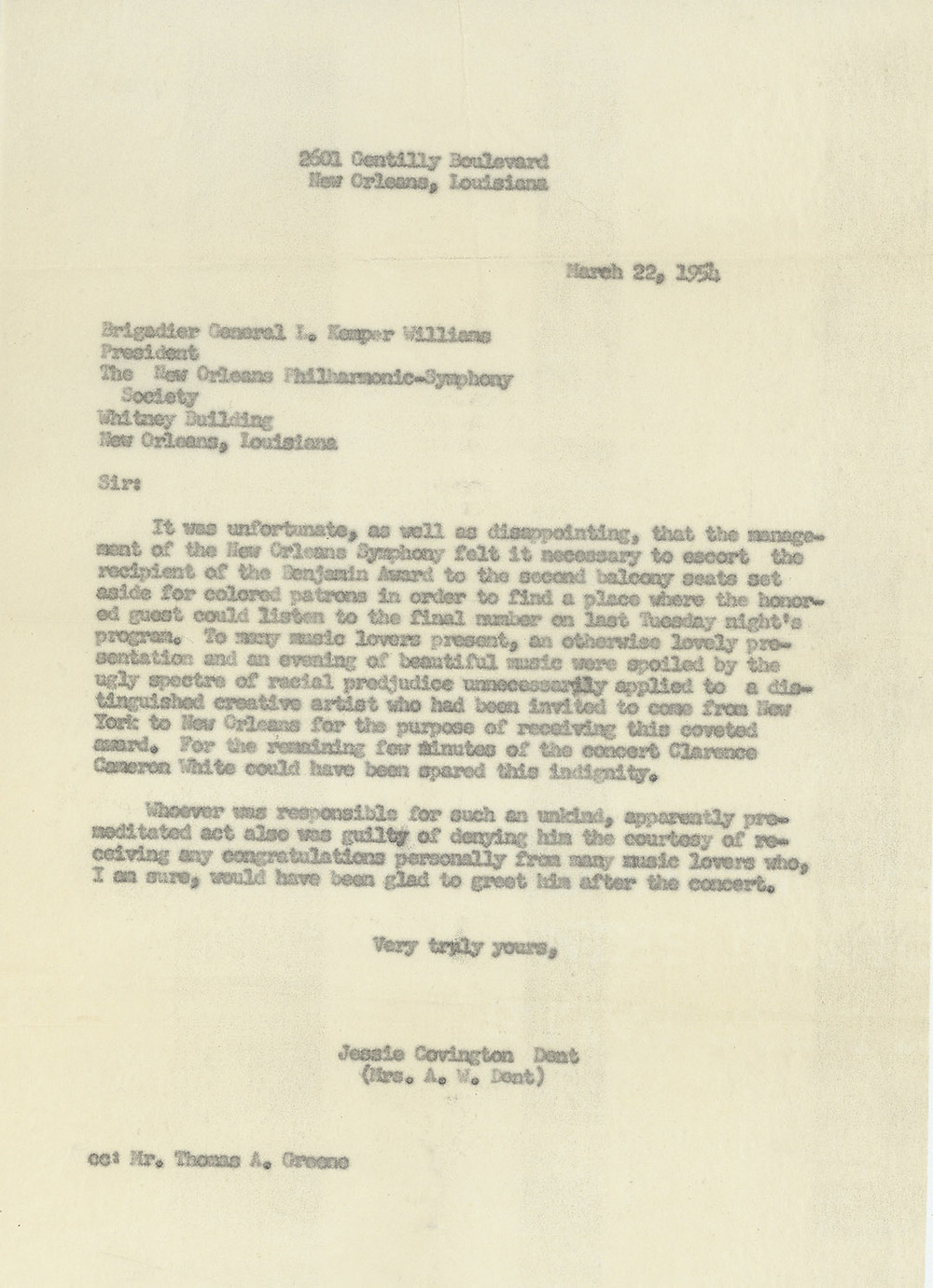 Jessie Covington Dent wrote a letter to the president of the New Orleans Philharmonic-Symphony Society expressing her disappointment at an act of racial prejudice toward an African-American award recipient during a performance.