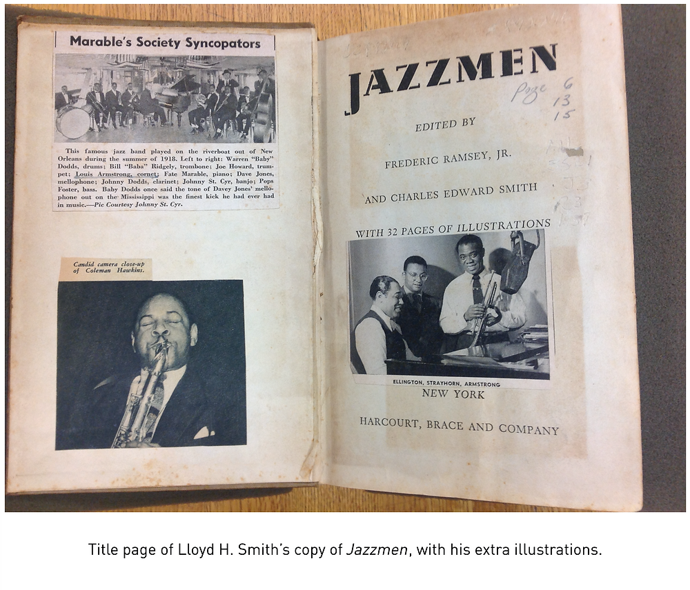 Title page of Lloyd H. Smith's copy of Jazzmen, with his extra illustrations.
