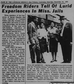 Louisiana Weekly article regarding New Orleans CORE members and Freedom Riders.
