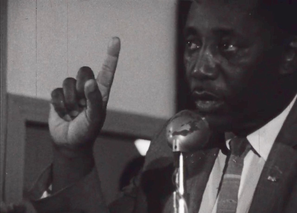 Charles Evers addresses a crowd
