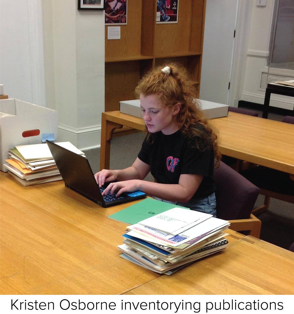 Kristen Osborne inventorying publications