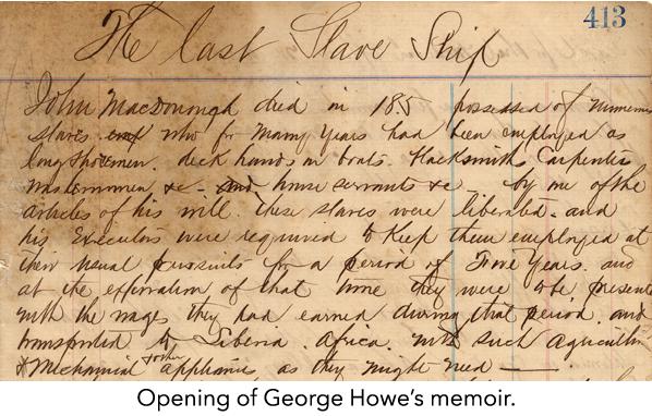 Opening of George Howe's memoir.