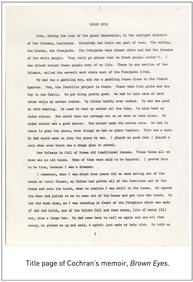 Title page of Cochran's memoir, Brown Eyes.