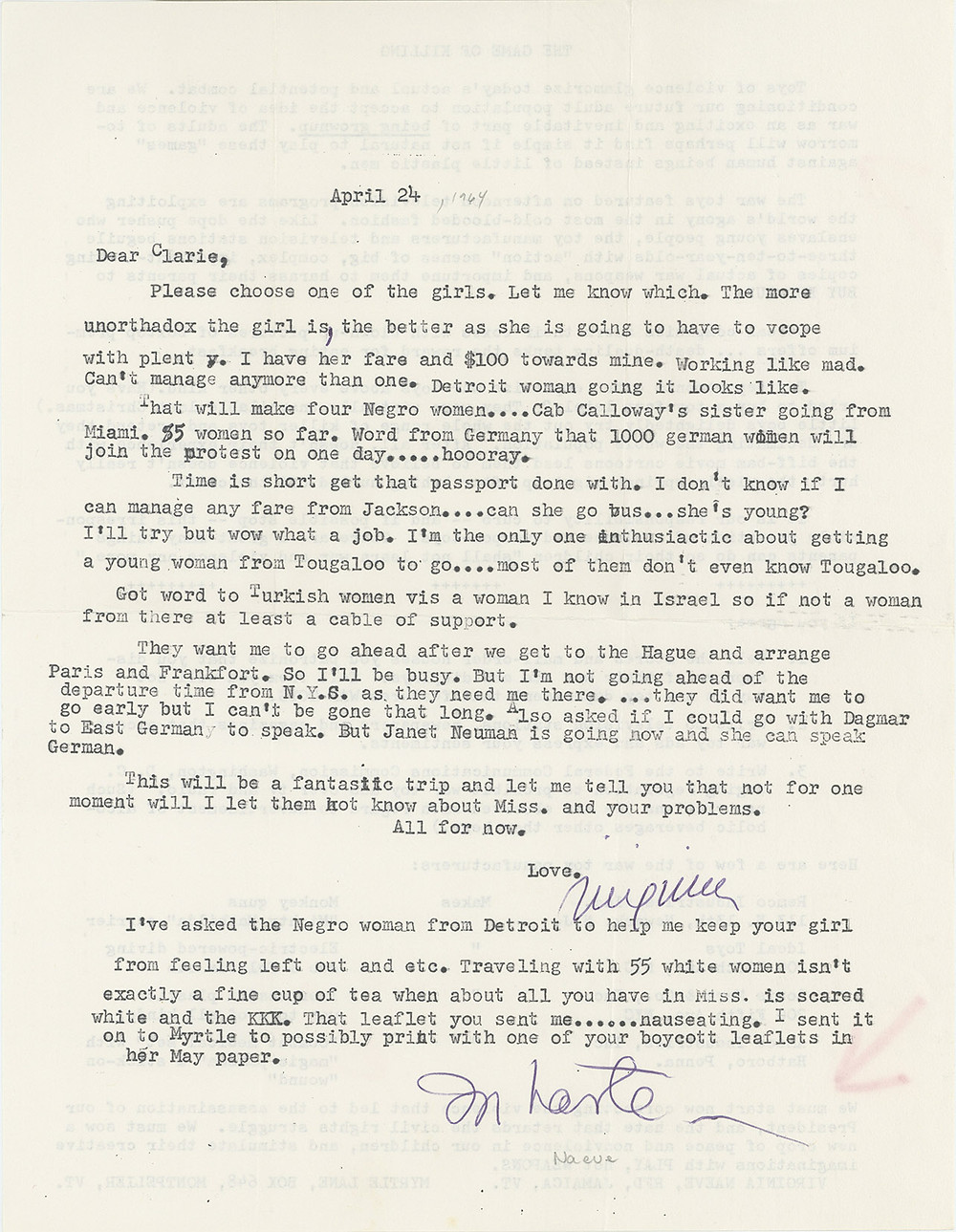 Letter from Virginia Naeve to Clarie Collins Harvey, April 24, 1964