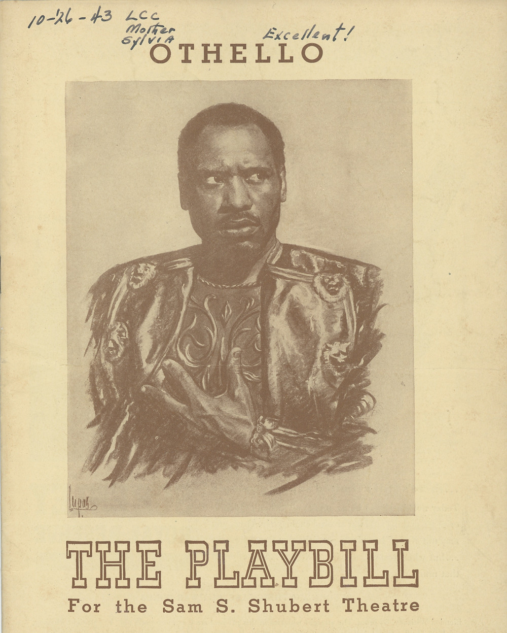 """A program from a performance of """"Othello"""" featuring Paul Robeson, that Cartwright attended with her husband in 1943. She proclaimed it """"Excellent!"""""""