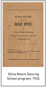 Elma Moore Dancing School program, 1933.