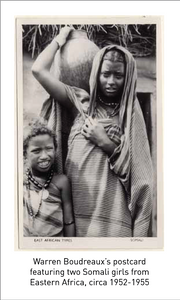Warren Boudreaux's postcard featuring two Somali girls from Eastern Africa, circa 1952-1955