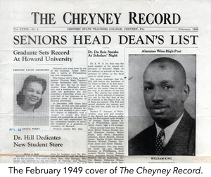 The February 1949 cover of The Cheyney Record.