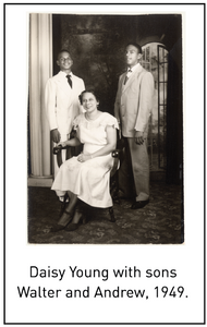 Daisy Young with sons Walter and Andrew, 1949.