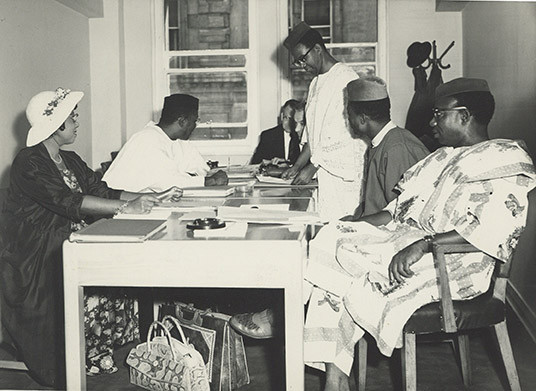 Dr. Cartwright (far left) at a meeting of the Provisional Council of the University of Nigeria.