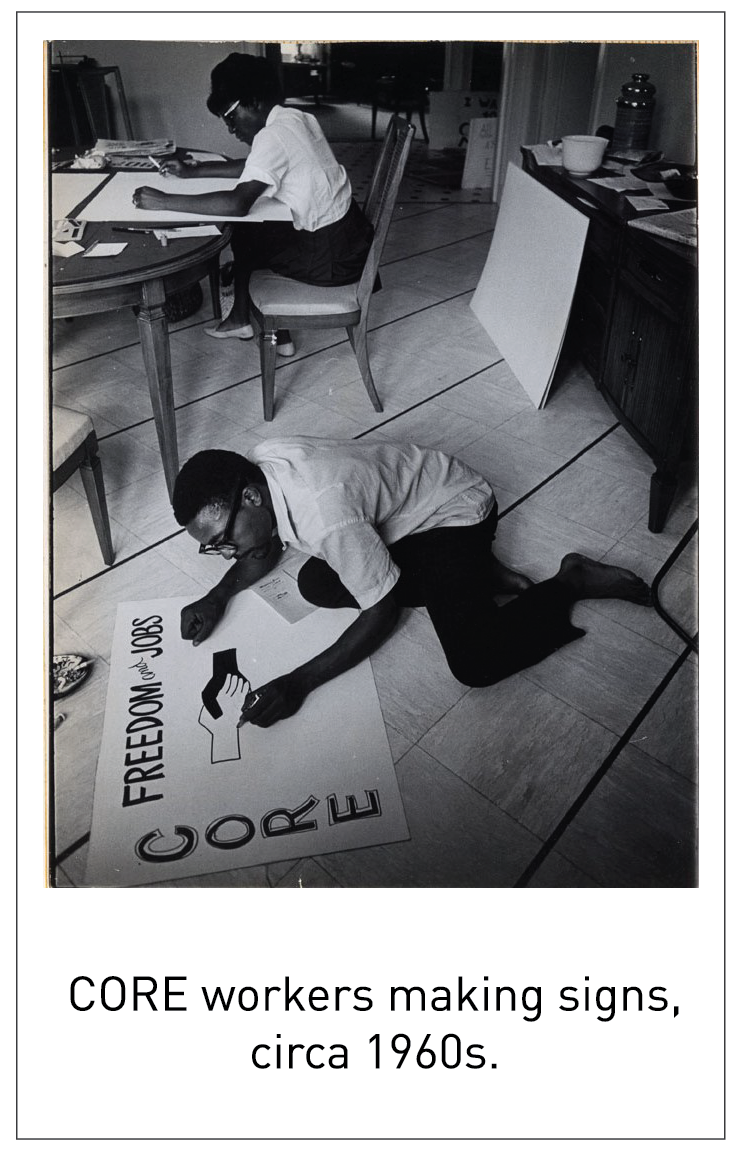 CORE workers making signs, circa 1960s.