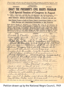 Petition drawn up by the National Negro Council, 1949