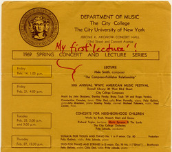 Detail of 1969 CUNY Spring Concert and Lecture Series with listing for Hale Smith, 1969.