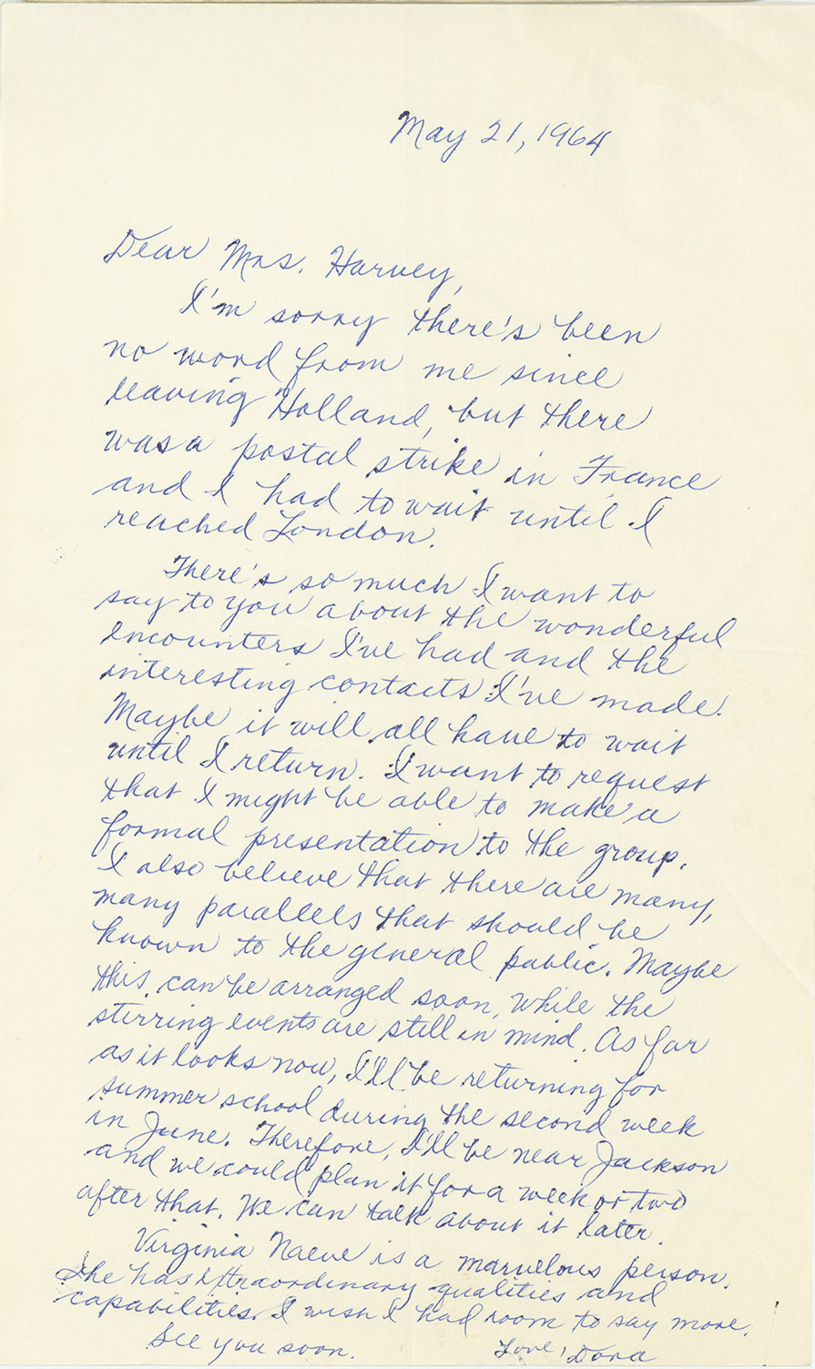 Letter from Dora Wilson to Clarie Collins Harvey, May 21, 1964
