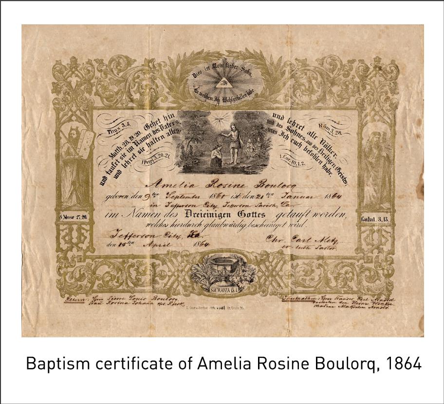 Baptism certificate of Amelia Rosine Boulorq, 1864