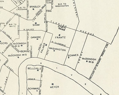 Detail of a map showing White elementary schools within the New Orleans Public School system for 1960-61.
