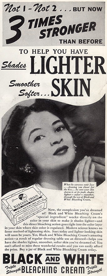 Advertisement from February 1950 issue of 'Ebony'.