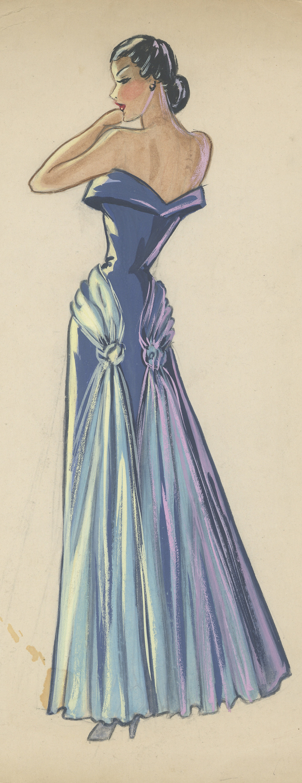 """Sketch of a dress design for Mary Richardson's fashion column, """"So, Sew Prettily"""""""