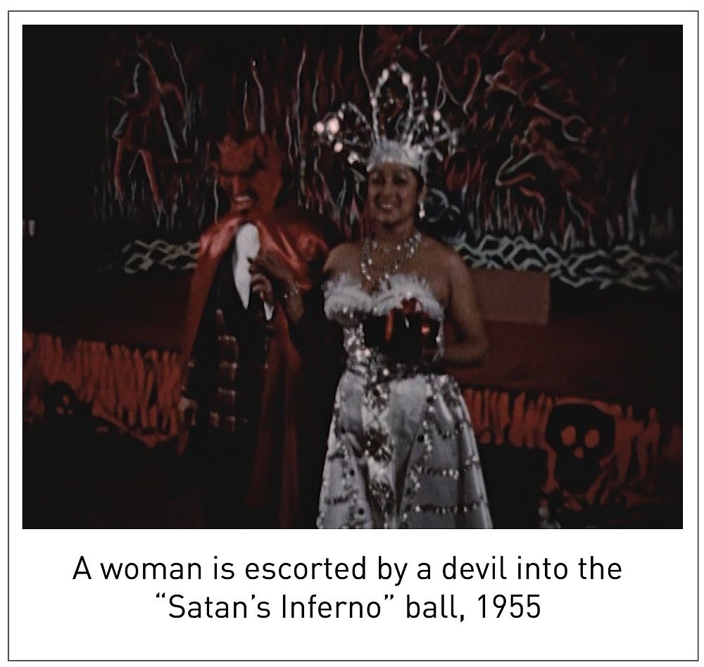 "A woman is escorted by a devil into the ""Satan's Inferno"" ball, 1955"